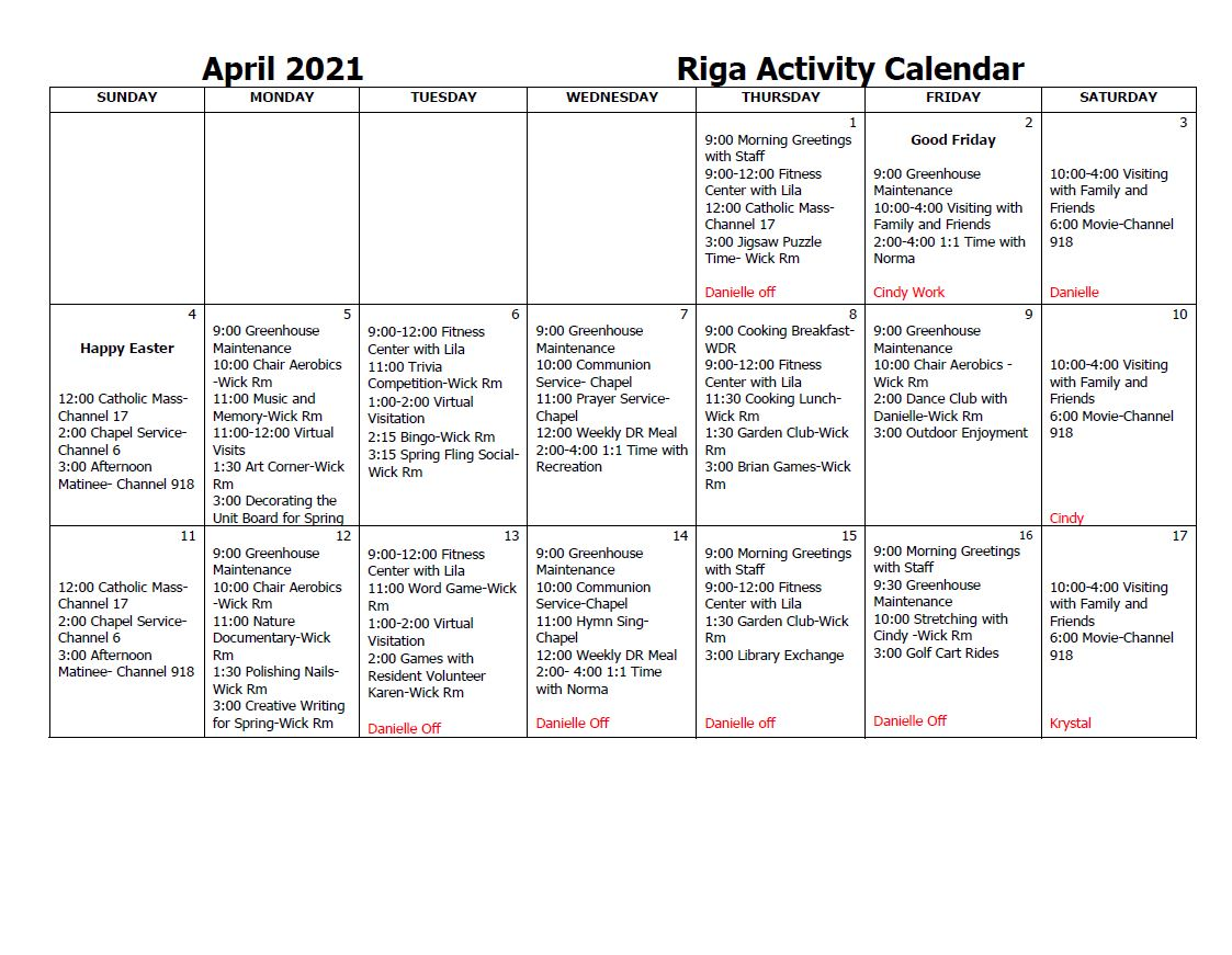 Riga Activity Calendar April