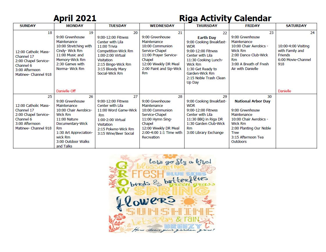 Riga Activity Calendar April pt 2