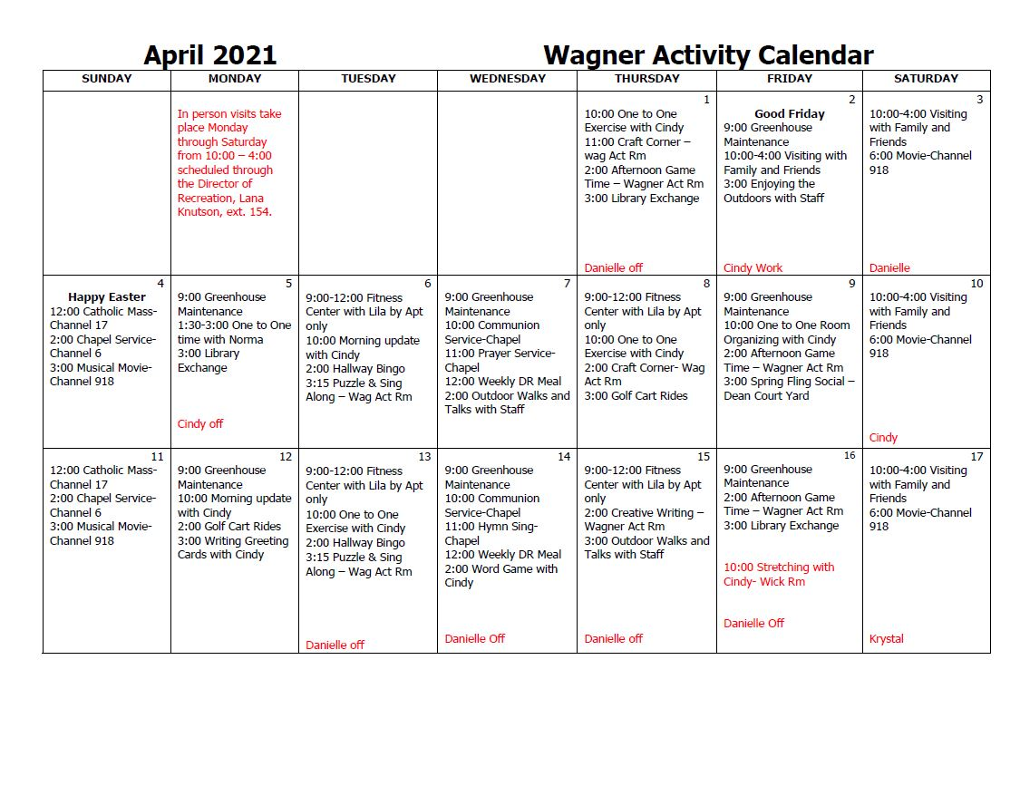 Wagner Activity Calendar April