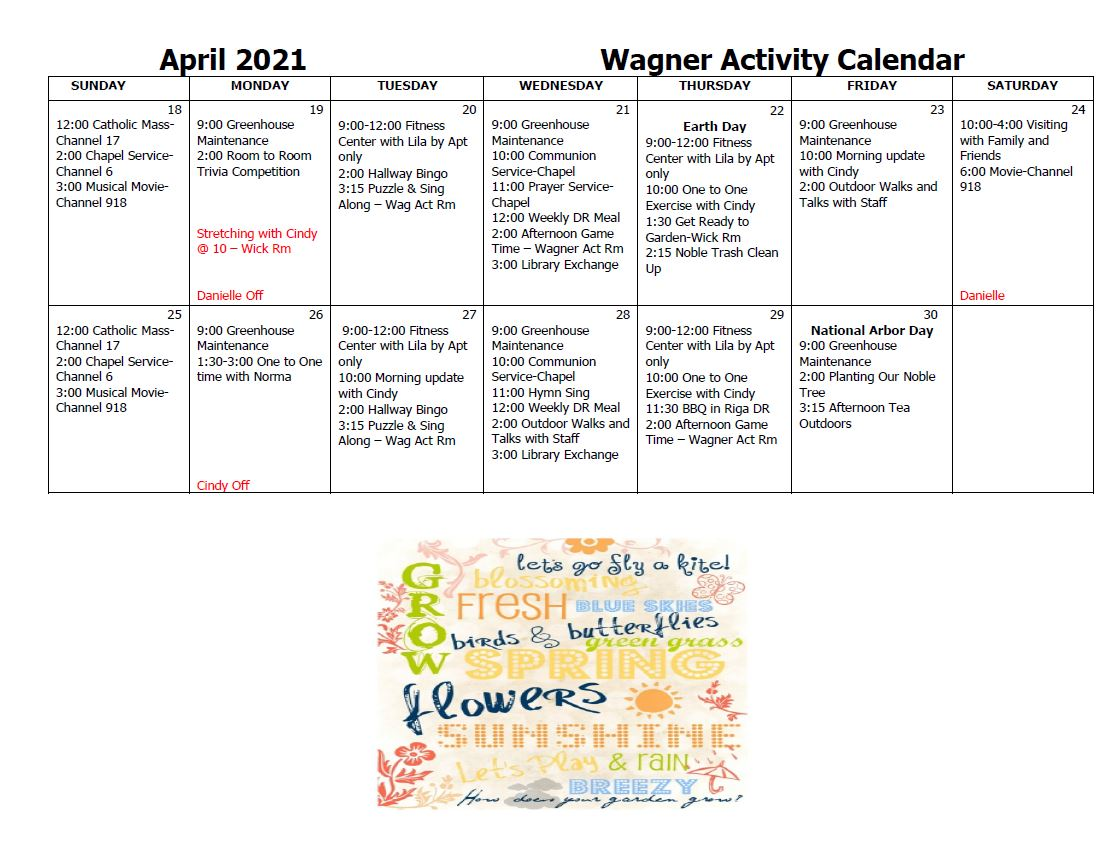 Wagner Activity Calendar April pt 2