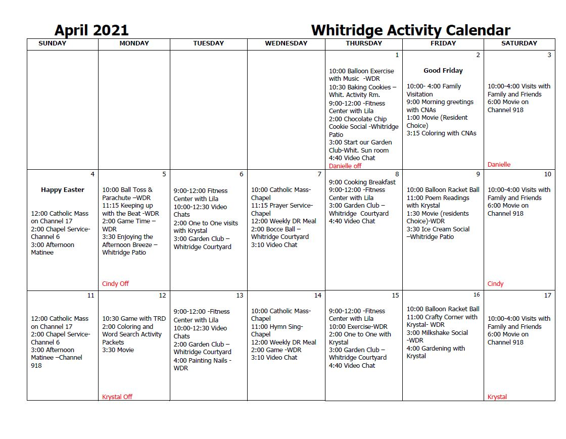 Whitridge Activity Calendar April