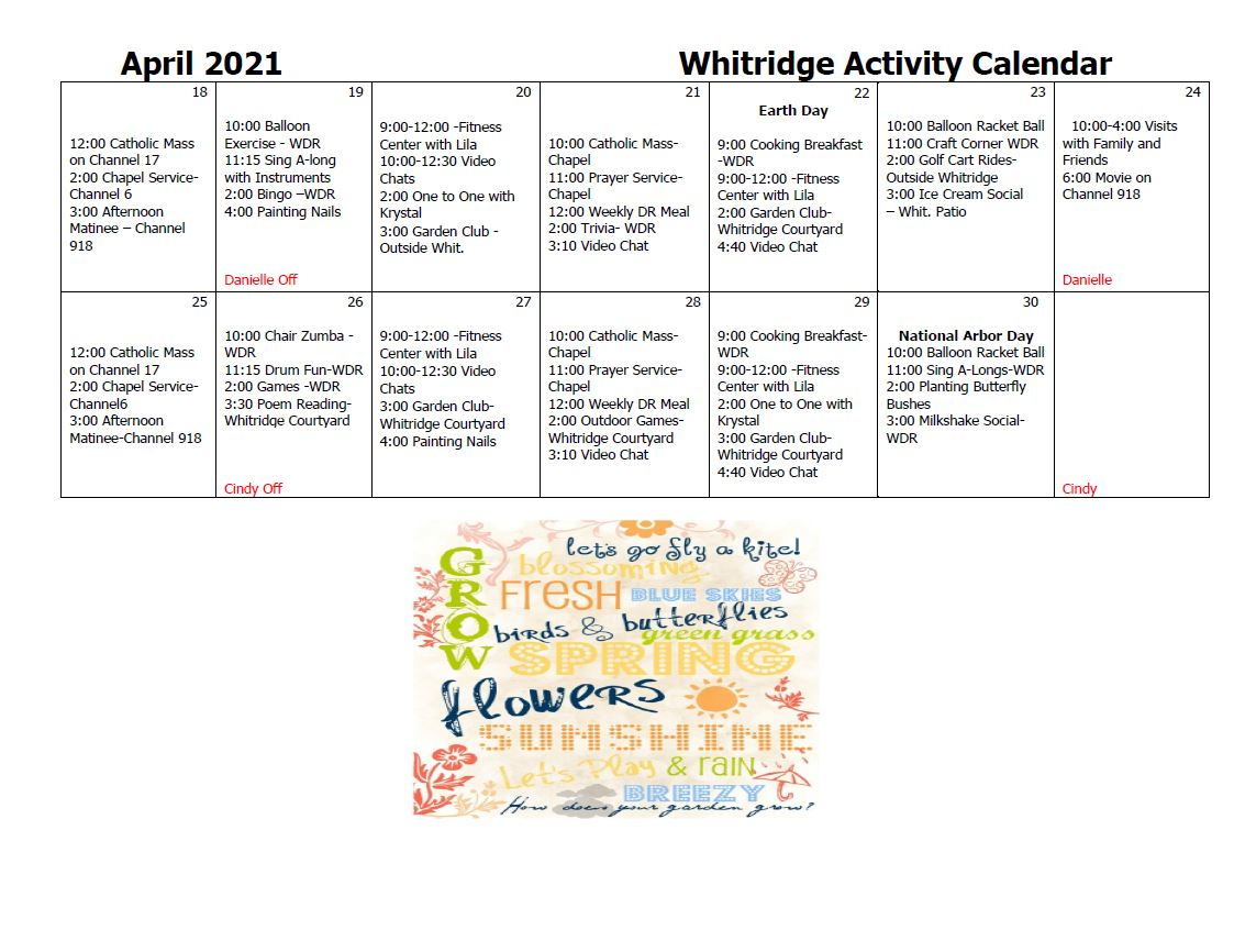 Whitridge Activity Calendar April pt 2
